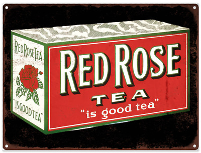 """Red Rose Tea Metal Sign Ad Repro Coffee  9x12"""" 60224"""