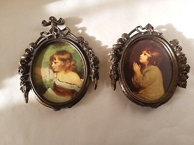 Set of 2 Small Antique Ornate Brass Oval Boy Girl in Frame Made in Italy
