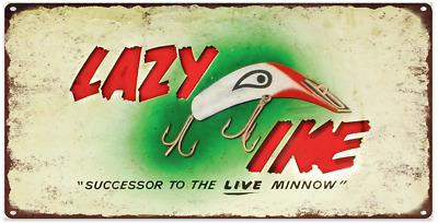 """Lazy Ike Metal Sign Ad Repro Fishing Lures 6x12"""" 60231"""