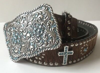 Nocona Cowhide Western Cross Hair On Belt With Beautiful Blue Crystals *GUC