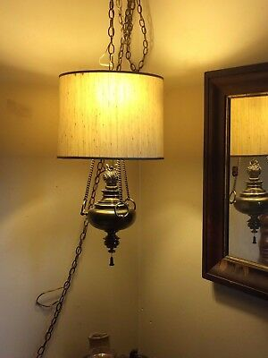 Mid Century Solid Brass Hanging Swag Lamp w/ Pull Chain & Shade Retro Lighting