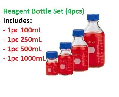 4pcs Reagent Bottle set, Clear Borosilicate Glass, Graduated with Screw Cap