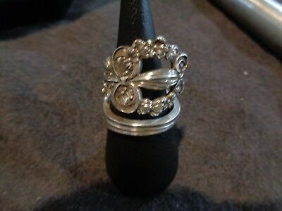 Antique Lunt early 1900s 925 Sterling Silver 8 Bypass Spoon Ring Custom sz 8.5