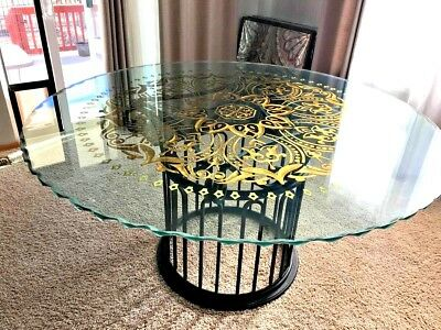 Gorgeous Large Custom Glass Scalloped Dining Table 24Kt Gold-Leaf Etched