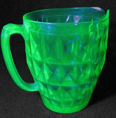 "Vintage Green Vaseline Glass Pitcher Small 6.5"" tall Handle Uranium Depression"