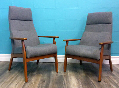 Superb Quality Retro Pair Of Vintage Mid Century Parker Knoll Armchairs