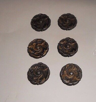 Lot of 6 Vintage Leaf/Leaves Pull Knob Cabinet Drawer Hardware w/screws Japan