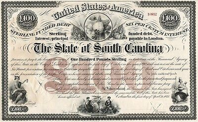 1871 USA: The State of South Carolina - £100 Sterling Funded Debt