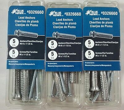 "LOT OF 3 BLUE HAWK MASONARY Lead Anchors #6-8 x 1 1/2"" 15 PCS #0326660 FREE SHIP"