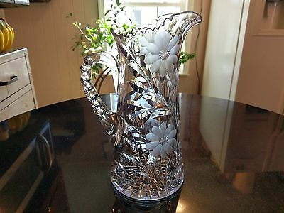 Gorgeous Huge Antique Cut Glass Pitcher