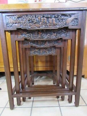 Vintage Chinese hardwood carved nesting tables