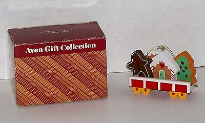 Vintage Avon Gift Collection Wooden Christmas Train Cookie Car Holiday Ornament