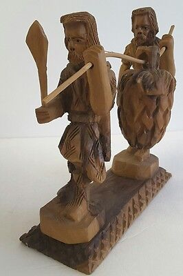 VINTAGE OLIVE WOOD CARVING Joshua & Caleb Carry Fruit From Promised Land