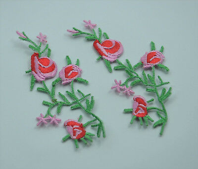 2x RED ROSE FLOWER 9cm 3inch Embroidered Sew Iron On Cloth Patch Badge APPLIQUE