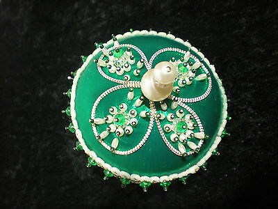Fancy Victorian Large Vtg Green Beaded Sequin Christmas Ball Ornament Hand Made