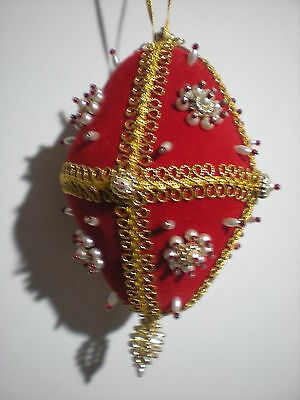 Fancy Victorian Large Vtg Beaded Red Christmas Ball Ornament Hand Made