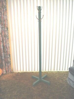 Vintage Wooden Hall Tree Painted Green - 4 Brass Hooks Local Pick Up Tiffin, Oh