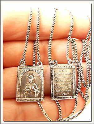 ANTIQUE 1900's SPANISH OUR LADY of MOUNT CARMEL & SACRED HEART SILVER SCAPULARS