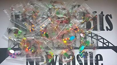 Sea fishing Rigs x 20 - 2 hook flappers - 2 hook clipped rigs sz 4 - 2/0