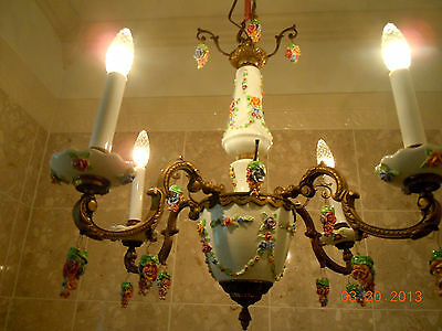 Gorgeous Vintage French Porcelain BARBOLA ROSES & FLORAL SWAGS Chandelier