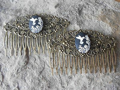 Pair Of Hummingbird (Black) Cameo Bronze Filigree Hair Combs - Victorian