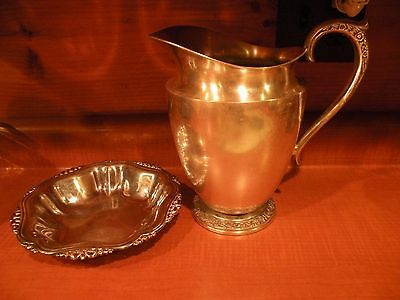 Silver Plate Wm. Rogers & Sons 1817 Water Pitcher & Oneida Silver Plate candy di