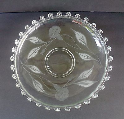 """Heisey Lariat Large Console Bowl - Etched With Morning Glory's """"stunning"""""""