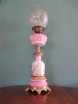 Antique Victorian(Circa1870)Pink Hand Painted Oil Lamp-Etched Glass Globe Shade