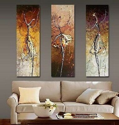 Handmade Beautiful MODERN ABSTRACT people HUGE WALL ART Deco OIL PAINTING 3pcs