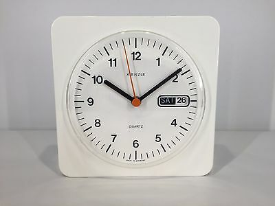 Rare Vtg KIENZLE Wall Watch Clock Mid Century Modern GERMANY Retro WHITE braun