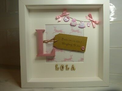 Personalised Box Frame New Baby Birth Christening Boy Girl Gift