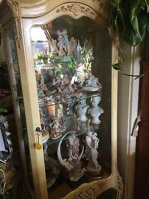 Antique Style French White Vitrine CurioDisplay Cabinet