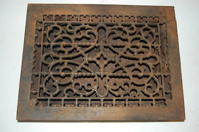 "cast iron floor register Heat Grate  With Louvers 12"" X 16""  Cracked corner"
