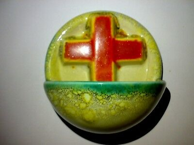 GOEBEL 29/0 Weihwasserbecken Art Deco Kreuz Cross Holy Water Font Keramik Potter