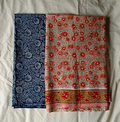 Cotton Lot OF 2 Pcs Of 3 Yard Hand Block Print Handmade Indian Jaipuri Fabric111