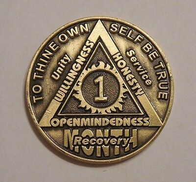 aa bronze alcoholics anonymous 1 month recovery sobriety coin token medallion