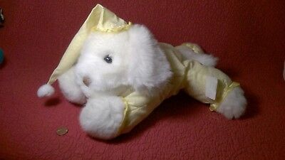 "Vintage 14"" Prestige 1987 WHITE DOG YELLOW PAJAMAS HAT plush stuffed animal toy"