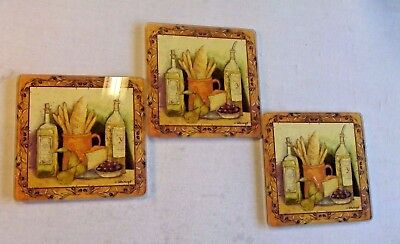 """Set Of 3 Tempered Glass Cutting Boards Trivets By S.Winget Bread Cheese 6"""" X 6"""""""