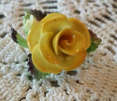 Vintage CARA CHINA STAFFORDSHIRE Porcelain Floral PIN BROOCH Yellow Rose ENGLAND