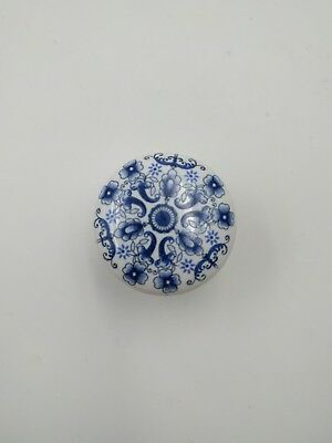 4pc Concentric Blue Flower Pattern White Porcelain Ceramic Drawer Cabinet Knobs