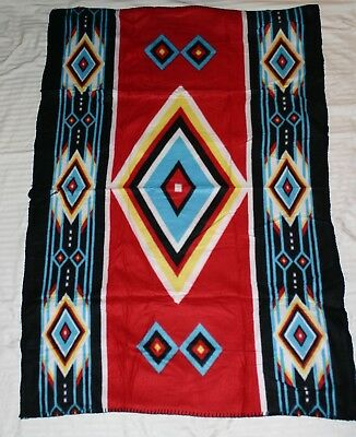 American Indian Relief Council Fleece Lap Blanket Southwestern Red Blue New
