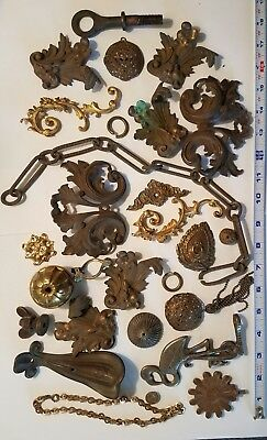 Brass Victorian LAMP Parts Antique Fancy Cast LOT Steampunk Art Baroque Filigree