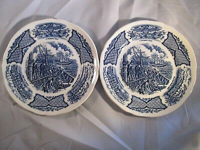 Set Of 2 Fair Winds Alfred Meakin Constitution Engaging Chinese Junks Plates