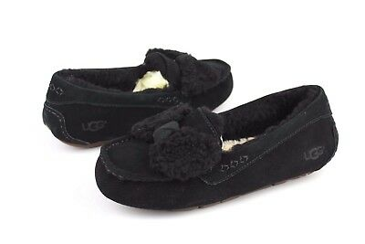c6582c67a99 UGG ANSLEY FUR Bow Fully Lined Slippers Black Color Size 12 US ...