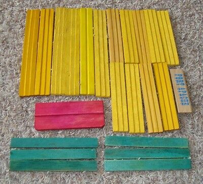 Vintage Lincoln Logs, 23  Wooden Roof Pieces, 1 Sign 1 Red    Smoke Free Home