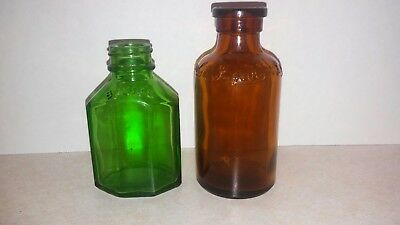 2 Vintage Antique Amber and  Green Glass Bottles- Lysol and Squibb