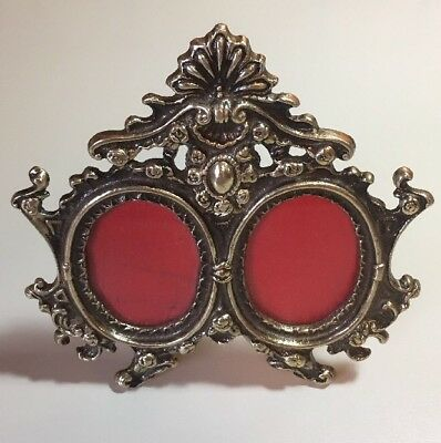 Vintage French Nouveau Ornate Double Oval Heavy Solid Brass Picture Frame