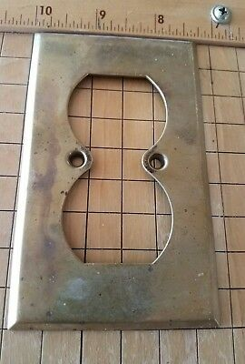 VINTAGE Hubbell BRASS Electric 2 Plug SWITCH Plate Wall Hardware spX3 Outlet OLD