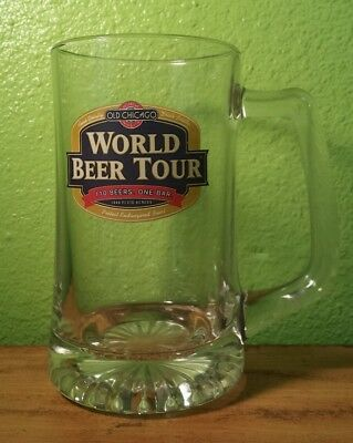 Big Large Heavy Duty Glass Beer Mug Old Chicago World Beer Tour 110 Beers 1 Bar
