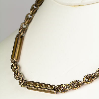 """Antique English Victorian 9K Gold 14.5"""" Chunky Watch Chain Necklace RARE EN820"""